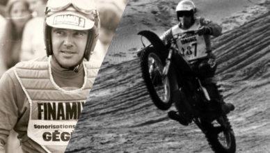 Jacky Vernier sur sa moto Ossa 250 lors du premier Enduro du Touquet en 1975